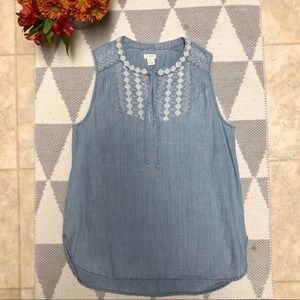 J.Crew Chambray Embroidered Top Size 2